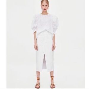 Zara High Rise White Denim Jeans Midi Skirt Medium
